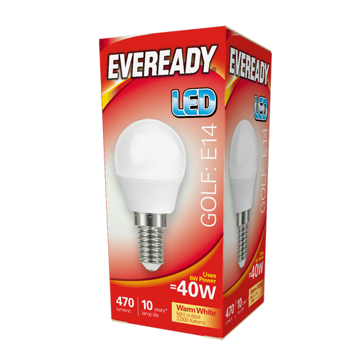 Eveready 6W LED Golf 470Lm Opal E14 Warm White Boxed S13608 | West Midland Electrics