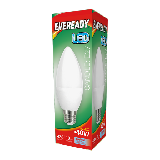 Eveready 6W Led Candle 480Lm Opal E27 Warm Daylight Boxed S13615 | West Midland Electrics
