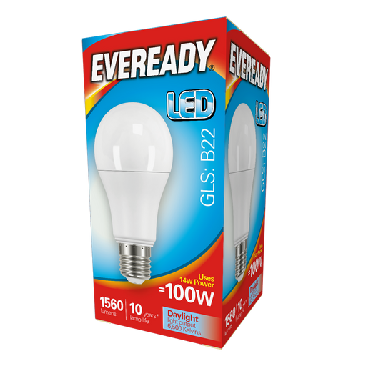 Eveready LED GLS 14W 1560Lm B22 Day Light Boxed S13627 | West Midland Electrics