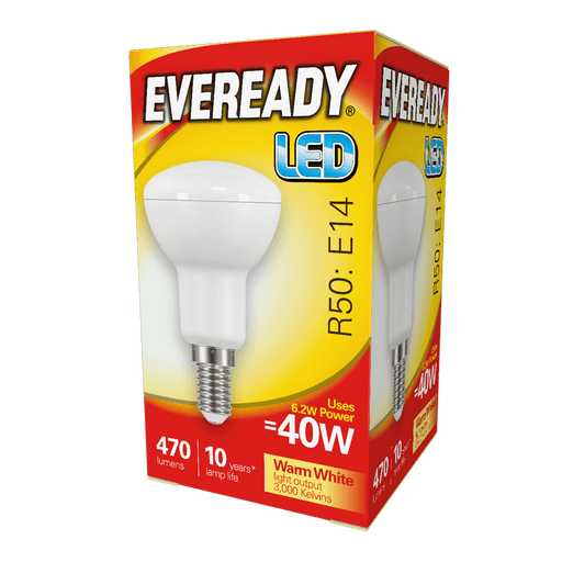Eveready LED R50 470Lm E14 Warm White Boxed S13631 | West Midland Electrics