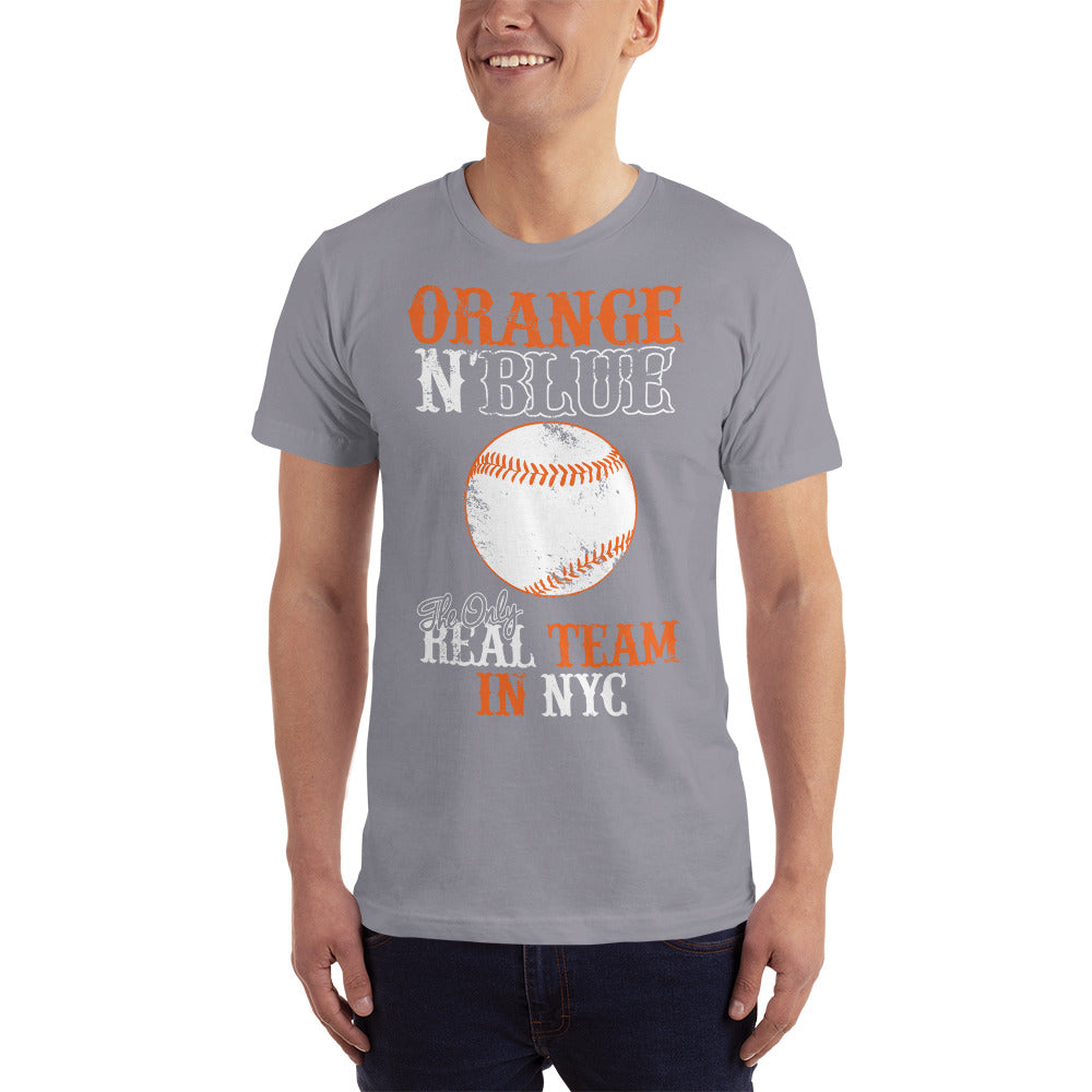 Orange and Blue Real Team in NYC - Baseball T-Shirt