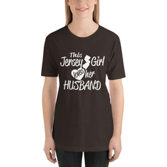 Jersey Girl Loves her Husband - Jersey Location Lover T-Shirt