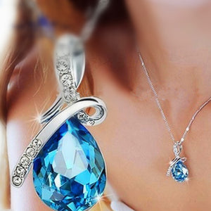Crystal Heart Pendant Necklace Chain For Women