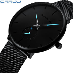 CRRJU Men's Black Water Resistant Watch