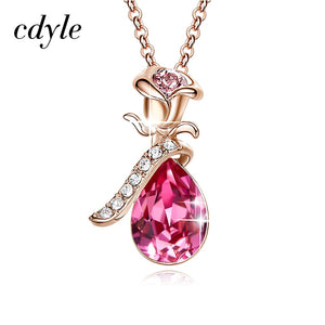 Pendant Necklace Enriched with Swarovski Crystals, 18k Rose Gold Plated