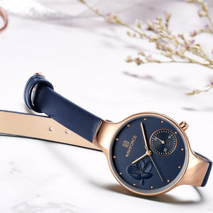 NAVIFORCE Women Fashion Blue Quartz Watch Lady Leather Watchband High Quality Casual Waterproof Wristwatch Gift for Wife 2019