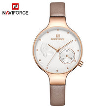 Load image into Gallery viewer, NAVIFORCE Women Fashion Blue Quartz Watch Lady Leather Watchband High Quality Casual Waterproof Wristwatch Gift for Wife 2019