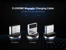 Load image into Gallery viewer, FLOVEME 1M Magnetic Charge Cable , Micro USB Cable For iPhone XR XS Max X Magnet Charger USB Type C Cable LED Charging Wire Cord