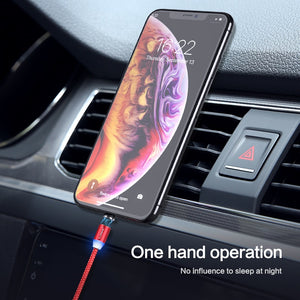 FLOVEME 1M Magnetic Charge Cable , Micro USB Cable For iPhone XR XS Max X Magnet Charger USB Type C Cable LED Charging Wire Cord