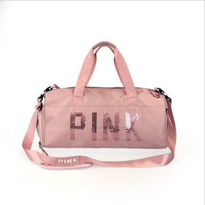 PINK GYM BAG WITH SHOE COMPARTMENT