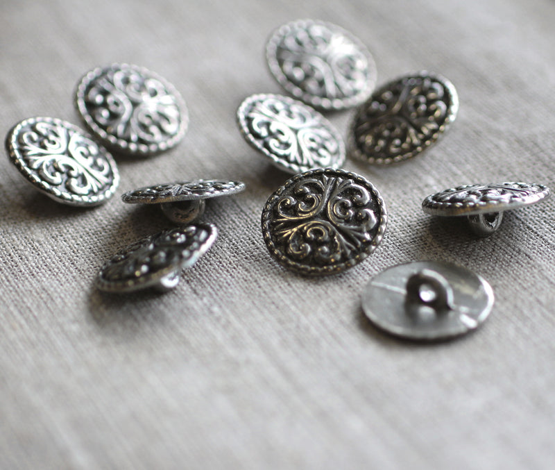 Three Flourish Buttons Med Pack of Ten