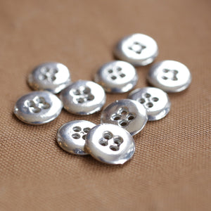 4 Hole Pewter Buttons Pkg of 10