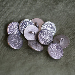 Hex Pewter Button LG 7/8 10 PK  B-1153