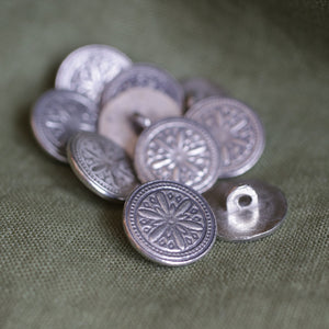 Hex Pewter Button LG 7/8 10 PK