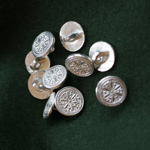 Hex Pewter Button SM 5/8 10 PK  B-1154