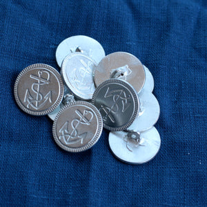 "1-1/16"" Marine Buttons Embellished Rim XL"