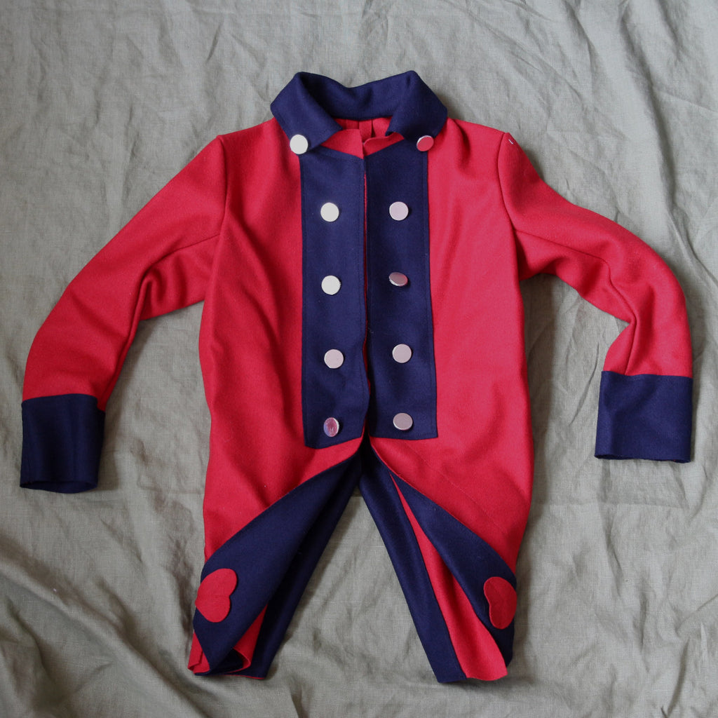 Medium Red with Blue Boy's Revolutionary War Coat-Second