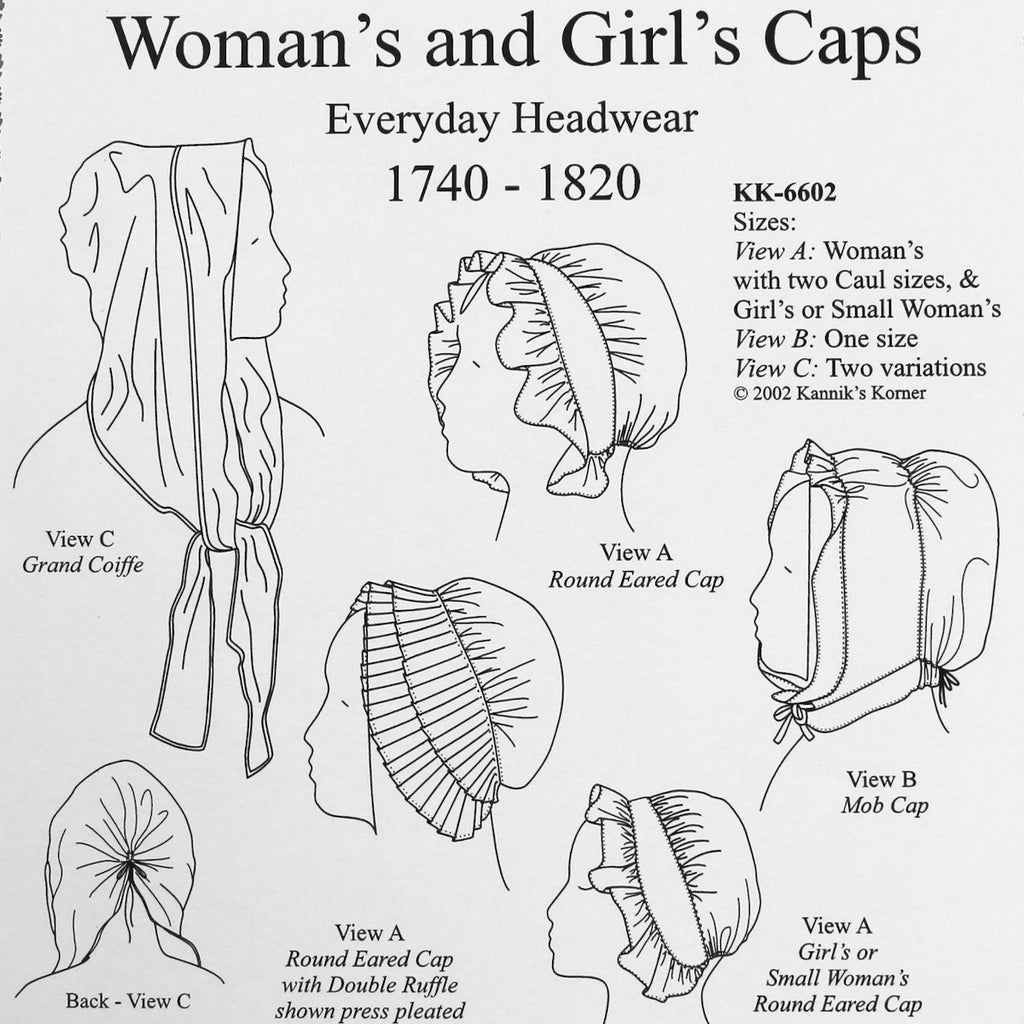 KK Woman's and Girl's Everyday Headwear: 1740-1820