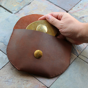 Leather Belt Bag with Brass Button
