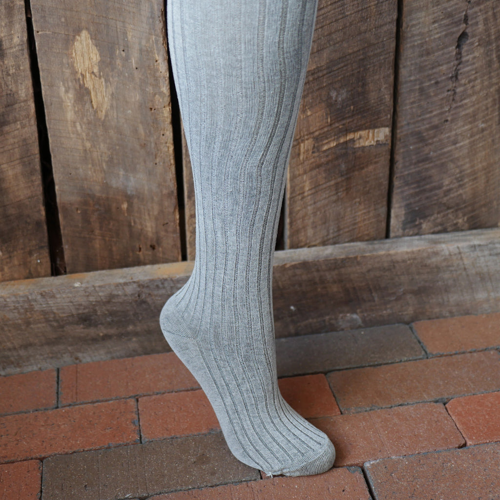 Ribbed Silk Stockings Gray