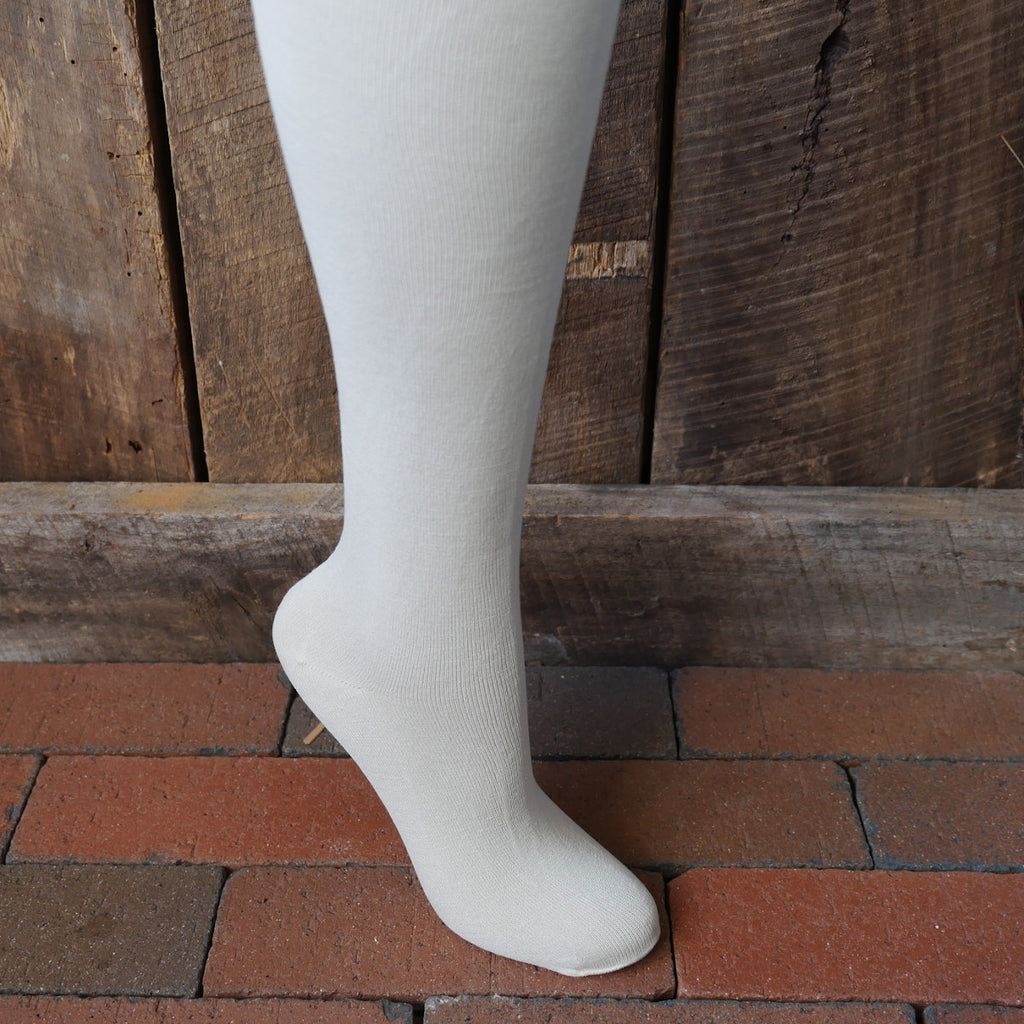 Off White Plain Silk Stockings