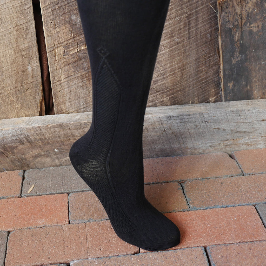Silk Clocked Stockings - BLACK