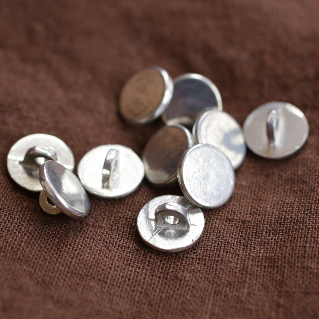 Plain Pewter Buttons Sm Pkg/10  B-1152