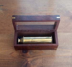 Brass Telescope in a Wooden Box