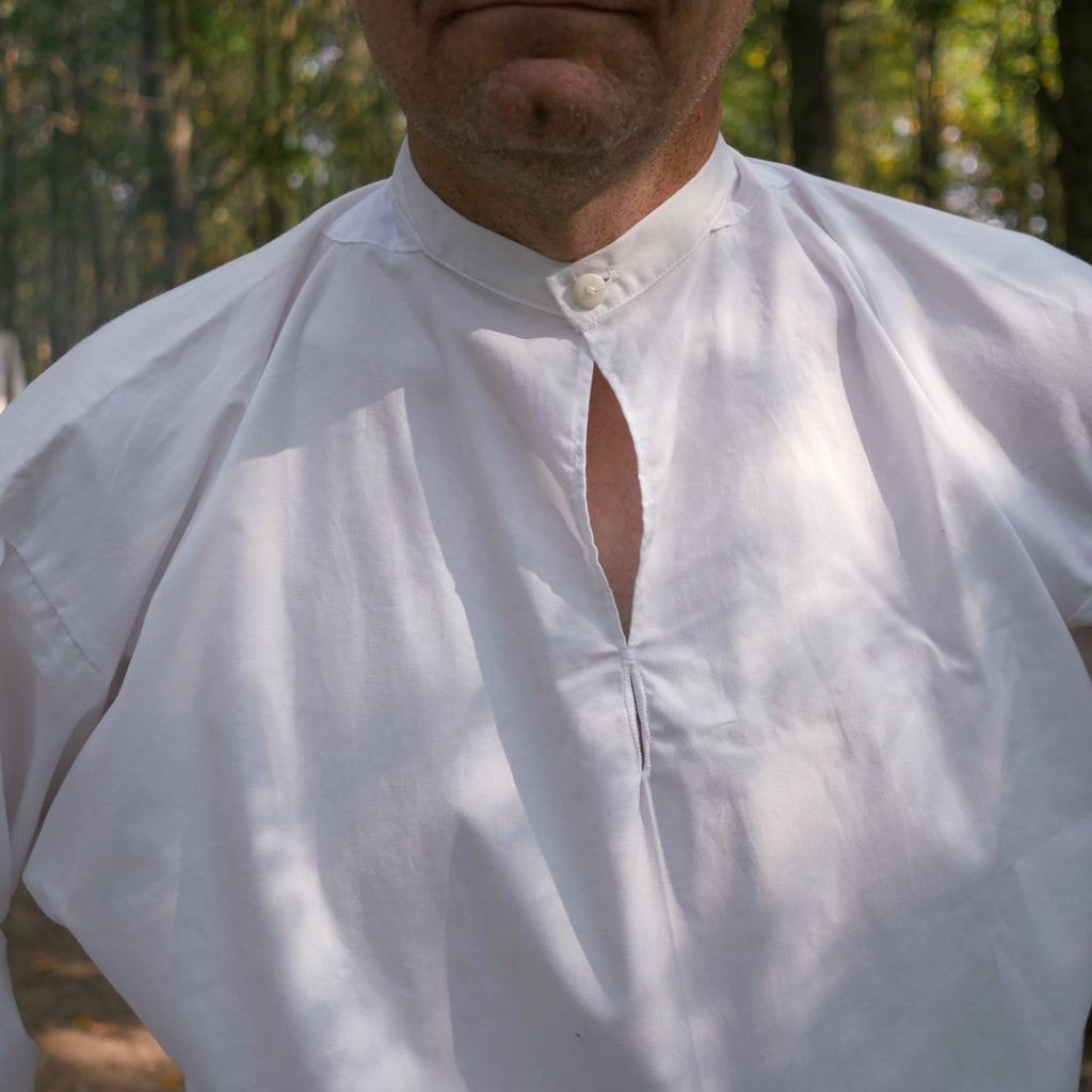 Banded Collar Shirt in Cotton