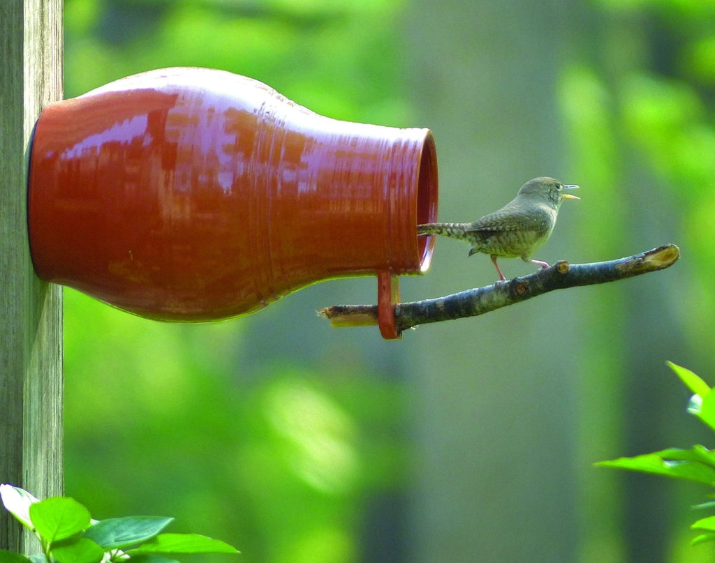 Redware Bird Bottle