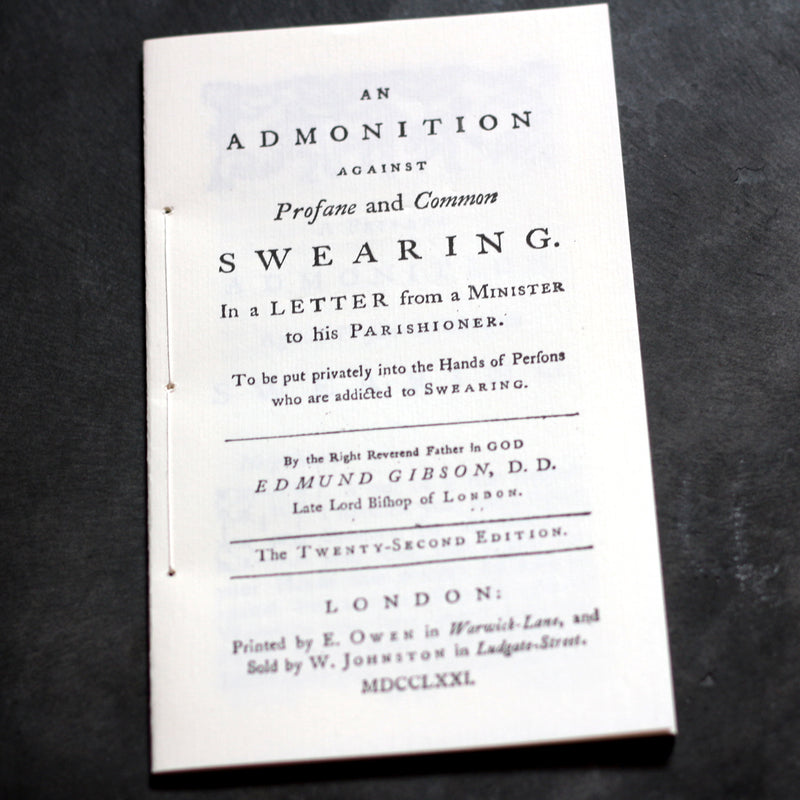 Book:An Admonition Against Profane and Common Swearing