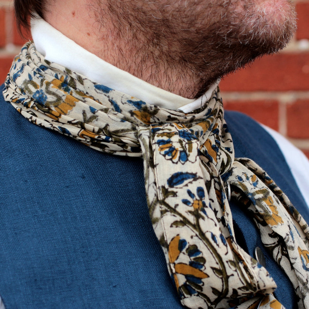 Block Printed Cotton Cravat   S-3142
