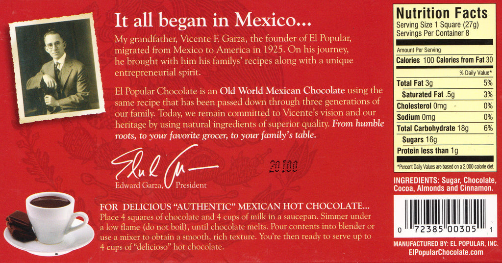 """El Popular"" Chocolate"