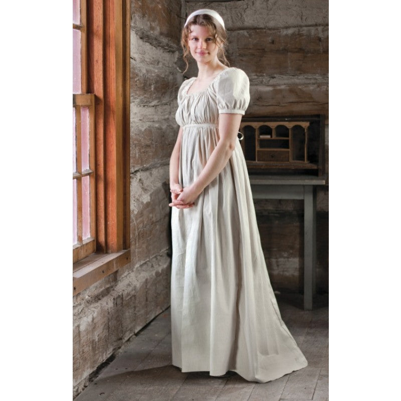 19th Century Empire Dress in Printed or Striped Cotton