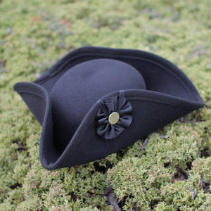 Fur Felt Civilian Tricorn - Low BLACK