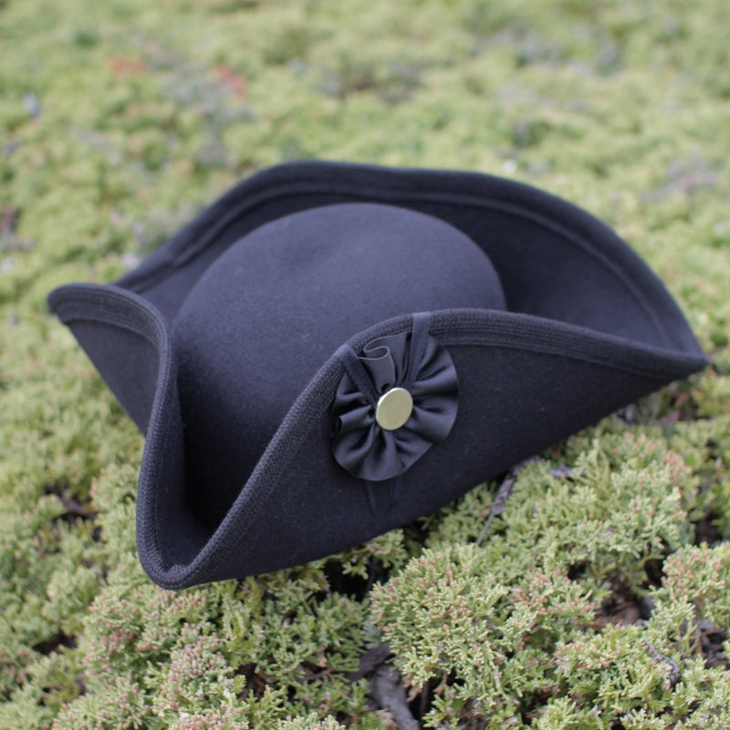 Fur Felt Civilian Tricorn - Tall BLACK  H-2445