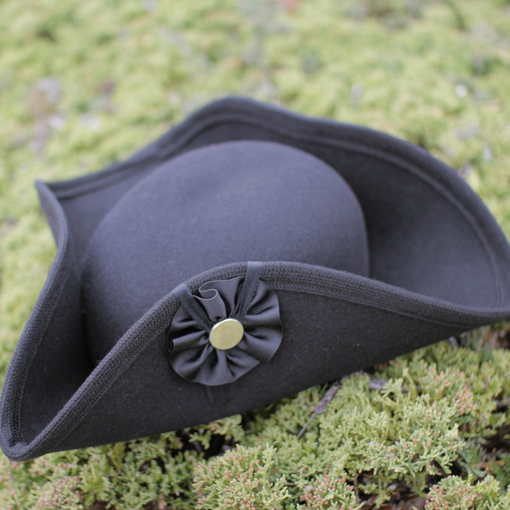 Fur Felt Civilian Tricorn - Low BLACK  H-2435