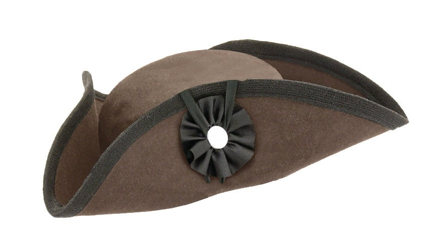 Fur Felt Civilian Tricorn - Low BROWN  H-2436