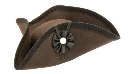 Fur Felt Civilian Tricorn - Tall  BROWN H-2446