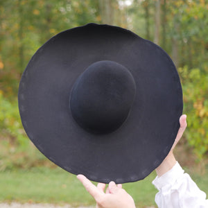 Black Heavy Wool Felt Hat Blank (Lined) HL-913