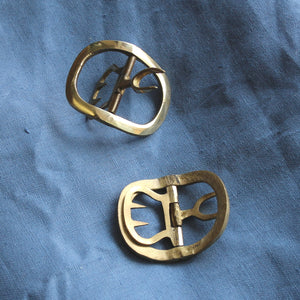 Ladies' Oval Shoe Buckles in Brass