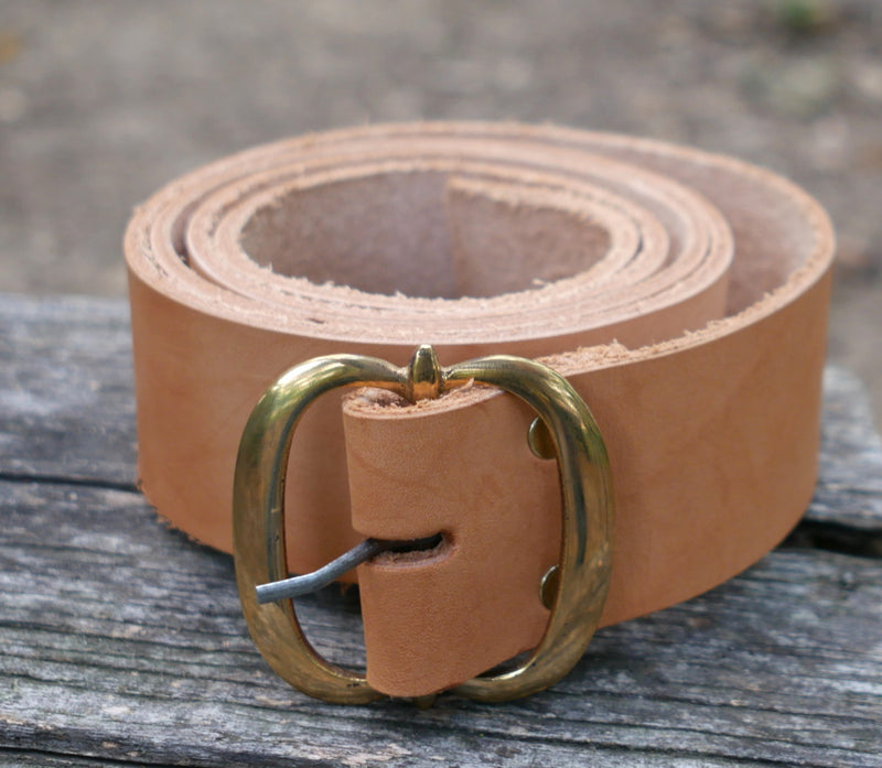 Leather Belt with Brass Buckle   LB-170