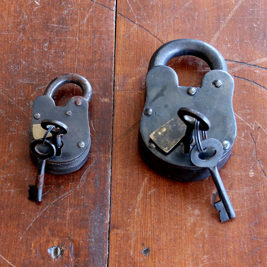 "Sturdy Iron Padlocks 3"" and 4-1/4"""