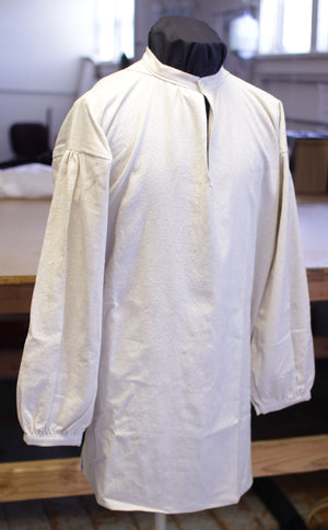 Banded Collar Shirt in Osnaburg