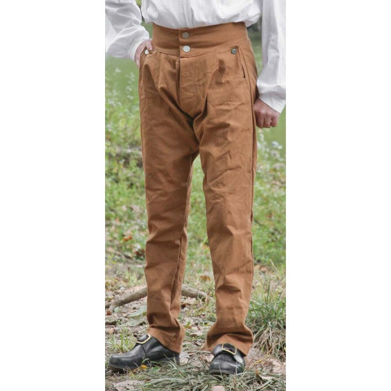 Fly Front Trousers in Colored Canvas
