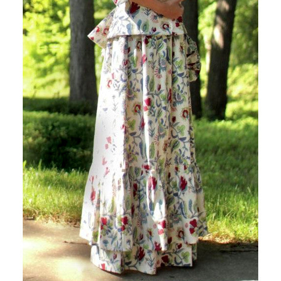 Flounced Drawstring Cotton Skirt - Printed PF-145