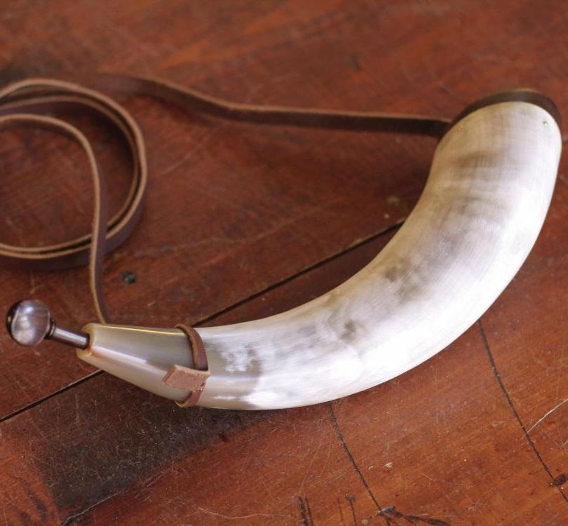 Premium White Powder Horn  PH-45