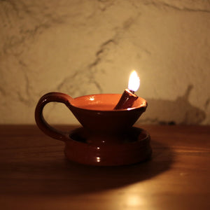 Redware Grease Lamp for Lantern  P-4142