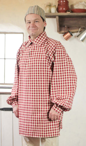 18th Century Workshirt - Red Check Cotton   RS-124