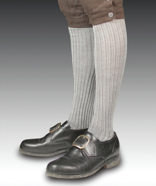 Ribbed Silk Stockings Gray - S-3302
